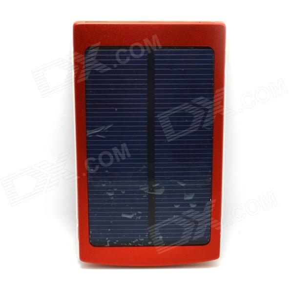 Universal Dual-USB 10000mAh Dual-USB Solar Energy Powered Power Source Bank - Red + White