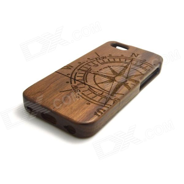 Compass Pattern Detachable Protective Wooden Back Case for IPHONE 5C - Wood Color + Black