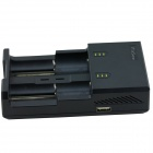 iTaSee 2-Slot 18650 NiMH Lithium Battery Charger w/ 5V USB Output - Black (US Plug / 110~240)