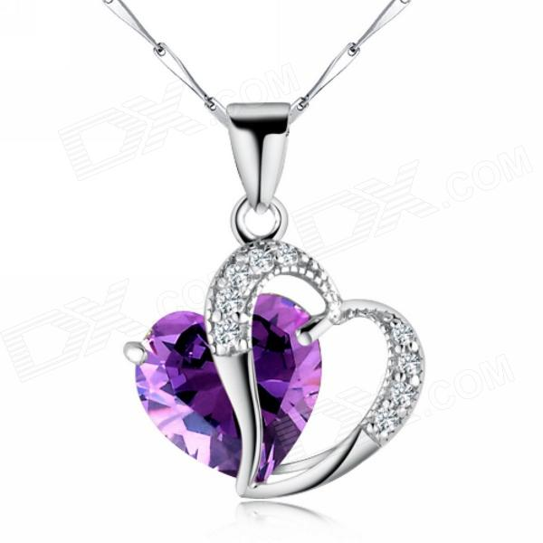 EQute Women's Elegant S925 Sterling Silver Heart Shaped Zirconia Pendant Necklace - Purple punk eye shaped pendant women men s necklace