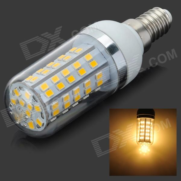E14 7W 770lm 3000K 80-SMD 2835 LED Warm White Bulb - White + Silver (AC 85~265V) honsco e27 5w 400lm 3000k 84 smd 2835 led warm white light bulb white silver ac 85 265v
