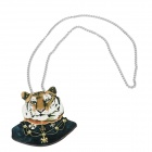 Retro Tiger Pattern Wweater Chain Necklace - Black + White