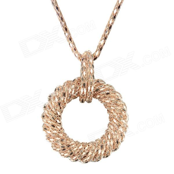 EQute SPEW24C3 Fashionable Golden Ring Pendant Sweater Chain Necklace - Golden