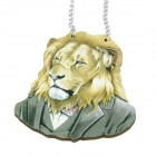 Retro Lion Pattern Sweater Chain Necklace - Gray + White