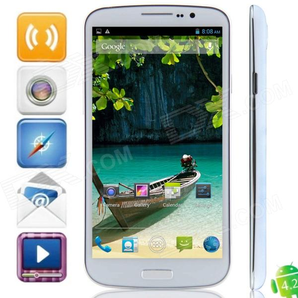 U692 MTK6592 Octa-Core Android 4.2.2 WCDMA Bar Phone w/ 6.5 OGS HD, FM, Wi-Fi, OTG, GPS - White bluboo x2 octa core android 4 2 bar phone w 5 0 hd gps wi fi fm bluetooth and rom 16gb black
