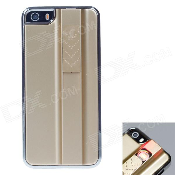 FIRE CASE Protective Plastic Back Case for IPHONE 5 / 5S w/ USB Rechargeable Lighter - Golden