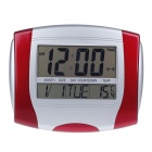 "E100004 5886 6.2"" + 5.8"" Dual-LCD All-age Calendar Desk Clock - Red + Silver (2 x AA)"