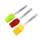 GROUP TIGER HA004F Natural Silicone Cake Brush Tool w/ Stainless Steel handle - Red + Green + Yellow