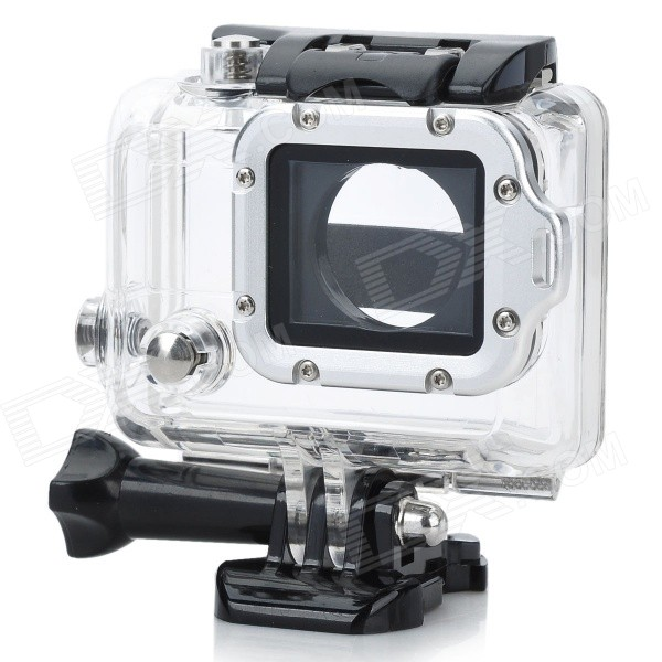 Waterproof Case w/ Individual Aluminum Alloy Strap Lens Ring for GoPro Hero 3+/3 - Silver Ring side open protective case w individual aluminum alloy lens strap ring for gopro hero 3 3 red