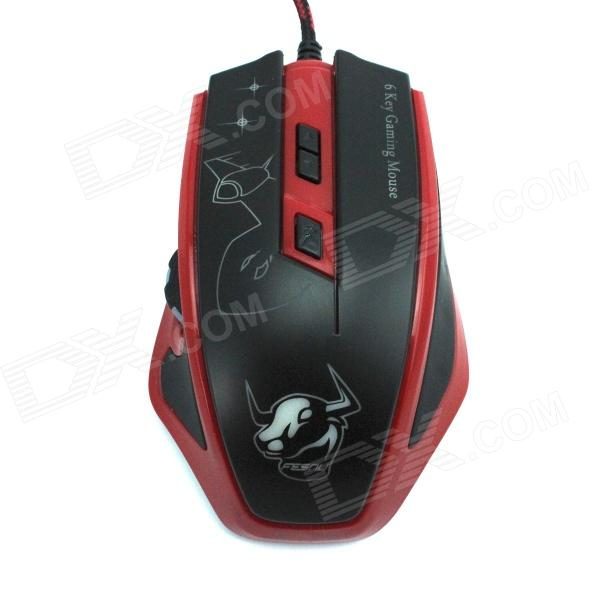 FCN USB Wired 800/1200/1800/2400dpi Left Scroll Optical 6D Gaming Mouse - Red + Black (143cm-Cable)