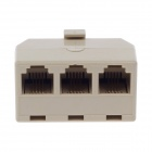 D200007 RJ11 1-to-3 Male to Female 4-core Splitter Coupler Connector Adapter - Beige