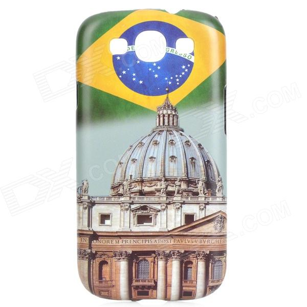 Brazil Pattern Protective ABS Back Case for Samsung Galaxy S3 i9300 - White + Green + Multicolored stylish bubble pattern protective silicone abs back case front frame case for iphone 4 4s