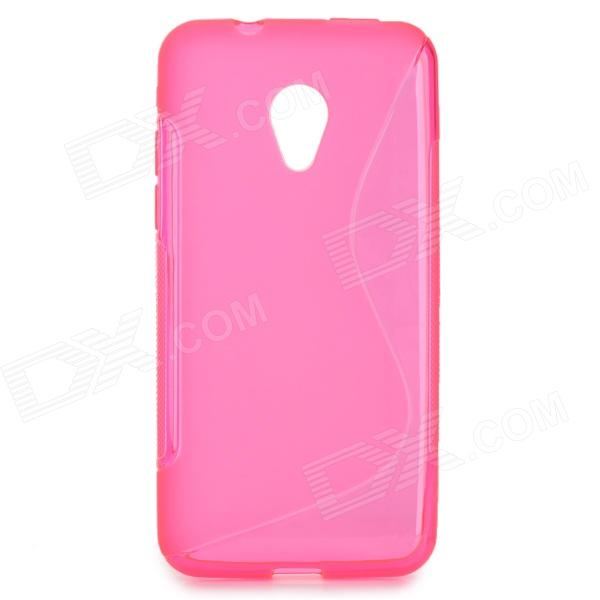 ''S'' Shaped Protective TPU Anti-skid Back Case for HTC Desire 700 - Deep Pink s style protective tpu back case for htc 8s translucent deep pink