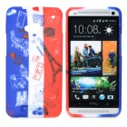 French Flag Style Graffiti Eiffel Tower Pattern Protective TPU Case for HTC One M7 - Blue + White