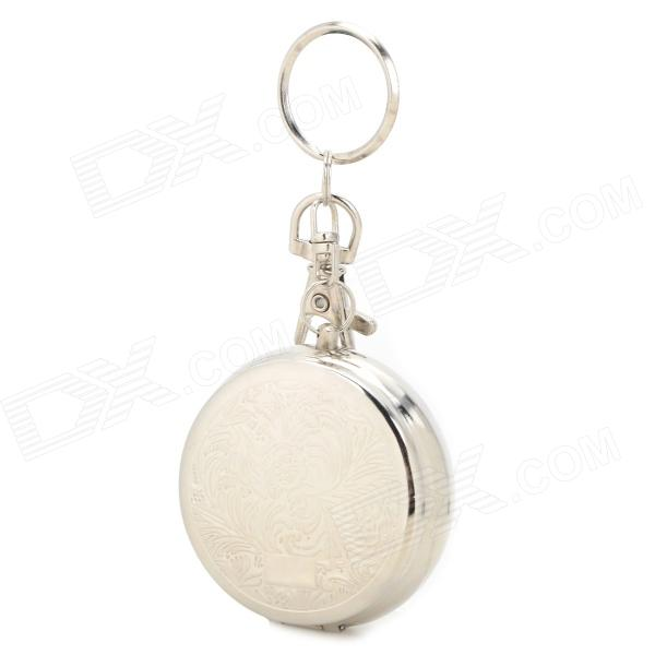 Mini Portable Stainless Steel Ashtray Keychain - Silver ashtray