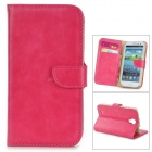 DYTI-007 Protective Flip Open PU + PC Case w/ Stand / Card Slots for Samsung i9500 - Deep Pink
