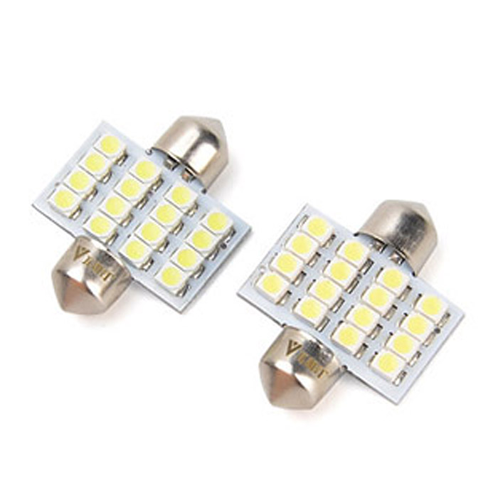 WaLangTing Festoon 31mm 5W 450lm 16 x SMD 1210 LED del coche blanco de la luz de bóveda - (12 V / 2 PCS)