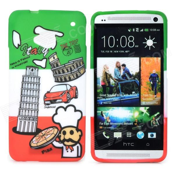 Italian Flag Style Graffiti Leaning Tower of Pisa Pattern Protective TPU Case for HTC One M7 - Green small holes style protective pe back case for htc one x s720e purple