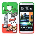 Italian Flag Style Graffiti Leaning Tower of Pisa Pattern Protective TPU Case for HTC One M7 - Green