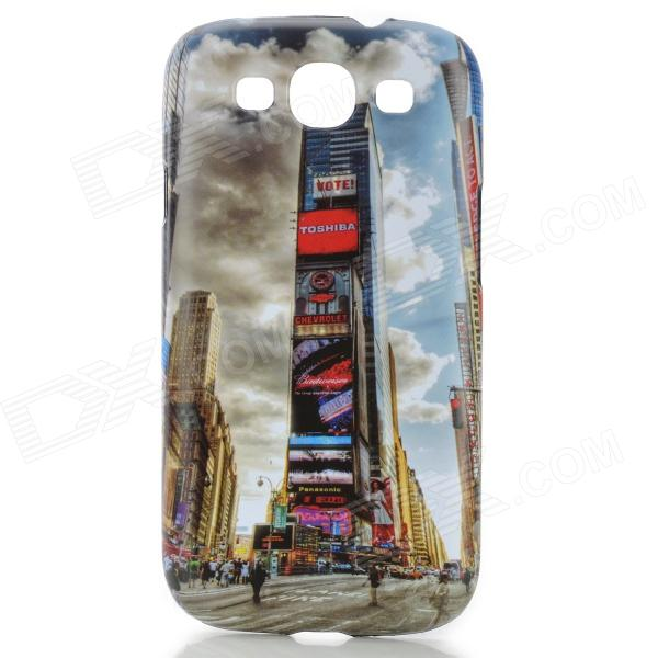 Times Square Pattern Protective ABS Back Case for Samsung Galaxy S3 i9300 - White + Black fashionable protective bumper frame case with bowknot for samsung galaxy s3 i9300 black