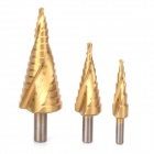 WLXY WL-7208 Spiral Groove escalonada Drill Set - Golden