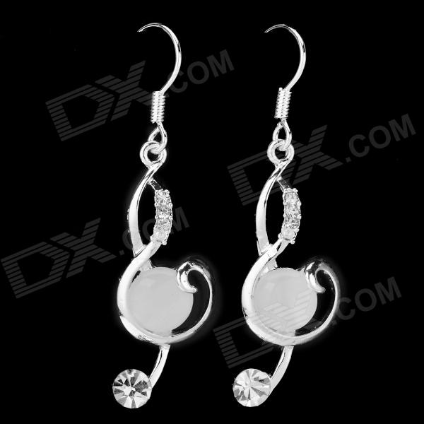 BEILIYA Fashion Color Zircon Earrings for Women - White (Pair)