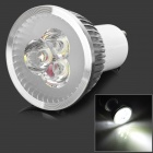 JRLED GU10 3W 230lm 6500K 3-LED White Light Spotlight - White + Silver (AC 220V)
