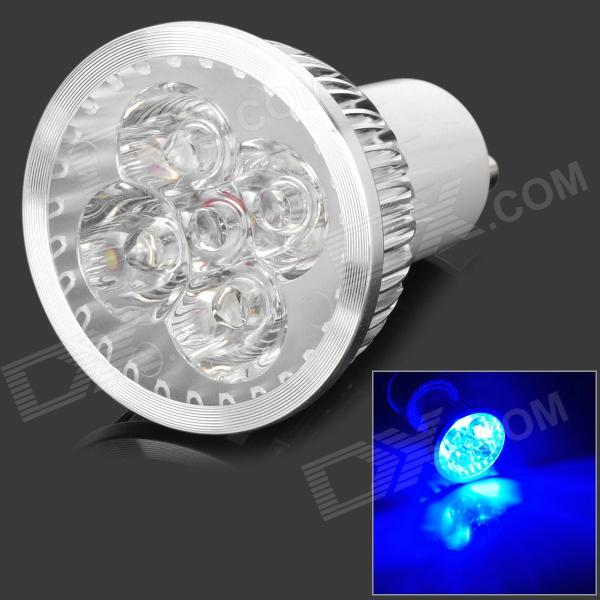 JRLED GU10 4W 100lm Luz Azul 4-LED Dimmer decorativo Spotlight - Blanco + Plata (220V AC)