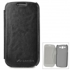 Lichee Pattern Protective PU Flip Open Case for Samsung S3 i9300 - Black + Grey