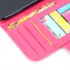 Protective PU Leather + Plastic Case w/ Card Holder Slots for IPOD TOUCH 5 - Deep Pink