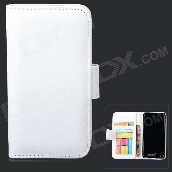 Protective PU Leather + Plastic Case w/ Card Holder Slots for IPOD TOUCH 5 - White lychee grain style protective pu leather case w card holder slots for google nexus 5 white