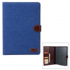 Protective PU Leather Case w/ Auto Sleep / Card Slots for Samsung Note 10.1 P601 / P600 - Blue