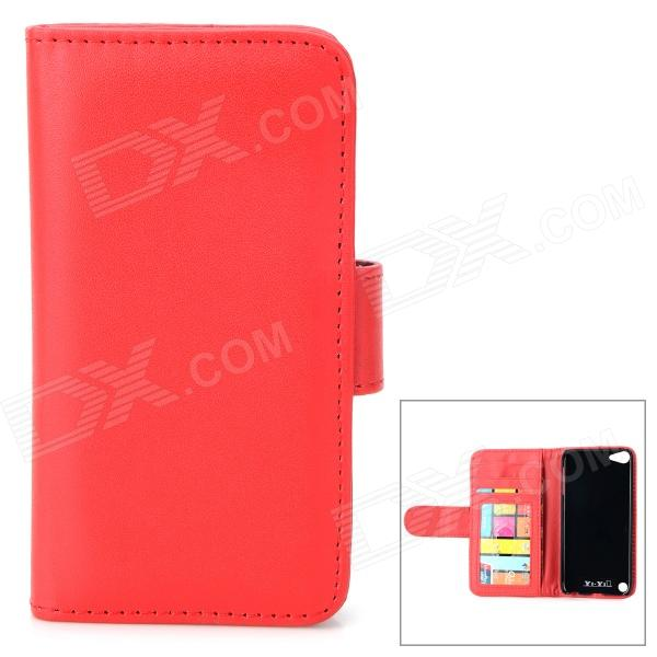 Protective PU Leather + Plastic Case w/ Card Holder Slots for IPOD TOUCH 5 - Red