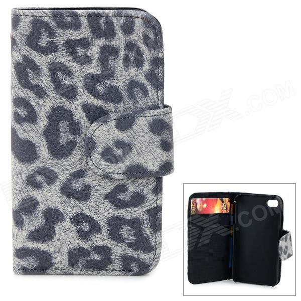BIW-004 Leopard Style Protective PU Leather + Plastic Case for IPHONE 4 / 4S - Light Grey silk style protective pu leather plastic case for iphone 4 4s deep pink