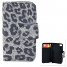 BIW-004 Leopard Style Protective PU Leather + Plastic Case for IPHONE 4 / 4S - Light Grey