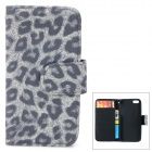 CLAD-035 Leopard Style Protective PU Leather + Plastic Case for IPHONE 5 / 5S - Light Grey