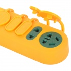 Waterproof 16A 220W 3-Flat-Pin Plug 5-Outlet Tomada - Amarelo + Verde