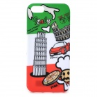 Graffiti Style Pisa Tower Pattern Back Case for IPHONE 5 / 5s - White + Green + Multi-Colored