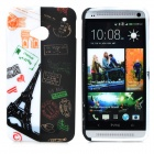 Cool Graffiti Style Protective TPU Back Case for HTC One M7 - White + Black