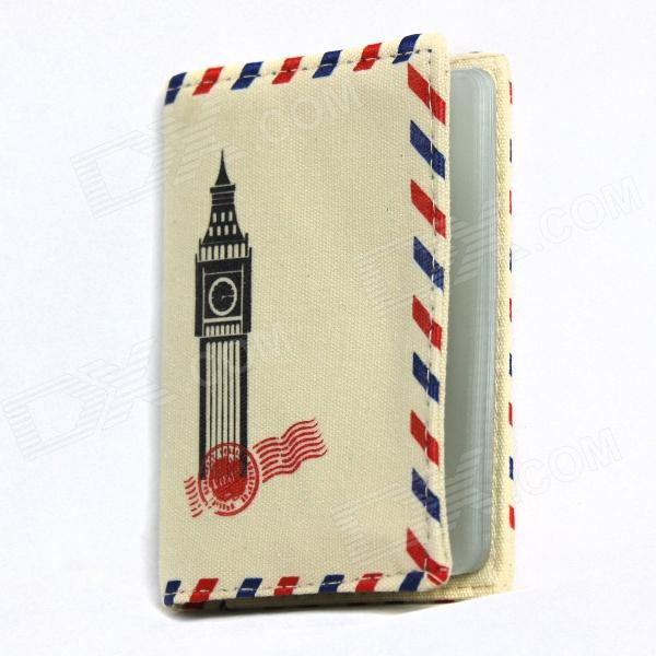 Britain Big Ben Pattern Cloth Card Holder Case Bag - Beige + Blue (12 Card Slots)