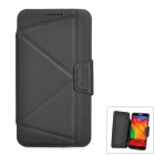 Protective PU Leather + PC Flip-Open Case for Samsung Note 3 / N9000 - Black + Translucent Grey