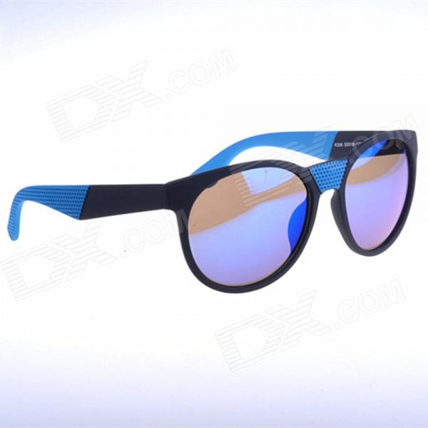 OREKA K356 Retro Style Round Blue REVO Lens UV400 Sunglasses - Black + Blue oreka children s cool cellulose acetate frame blue revo lens uv400 sunglasses brown blue