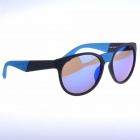 OREKA K356 Retro Style Round Blue REVO Lens UV400 Sunglasses - Black + Blue