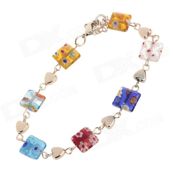 HH004 Fashionable Jewelry Crystal Zinc Alloy Necklace + Earrings+ Bracelet Set - Multicolored