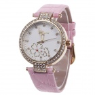 AODASI 4300L Stylish Women's Quartz Wrist Watch w/ Rhinestone Decoration - Pink + Golden (1 x LR626)