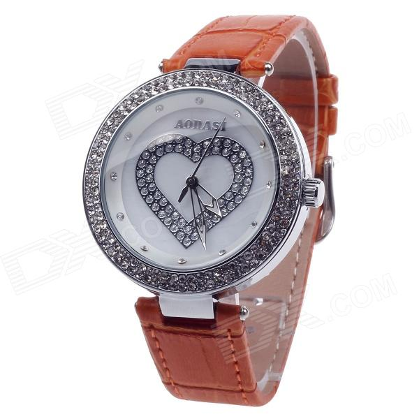 AODASI 4274G Heart Shape Women's Quartz Wrist Watch w/ Rhinestone Decoration - Orange + Silver