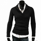 Fashionable Men's Lapel Leisure Long-sleeve Knit - Black (Size-XL)