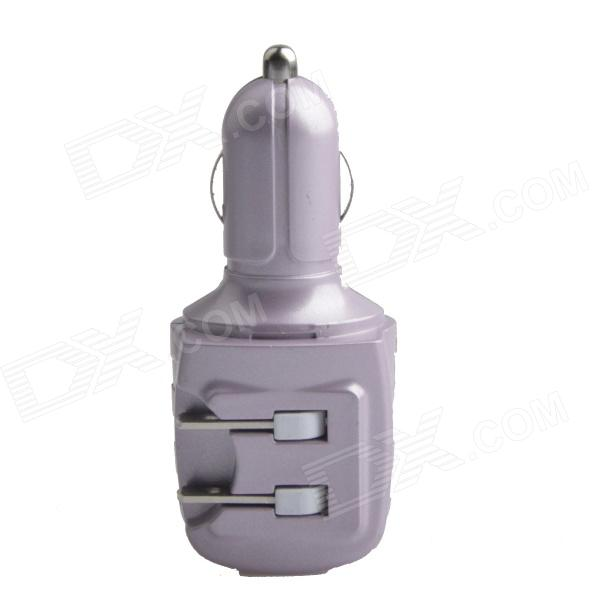HH-147 USB Car Charger / US Plugs AC Power Charger Adapter - Purple (DC 12~24V / AC 110~240V)