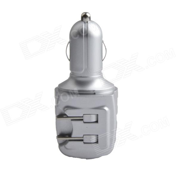 HH-147 USB Car Charger / US Plug AC Power Charger Adapter - Silver (DC 12~24V / AC 110~240V)