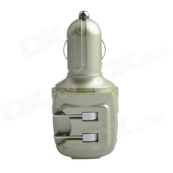 HH-147 Car Charger / US Plug AC Power Charger Adapter - Green (DC 12~24V / AC 110~240V)